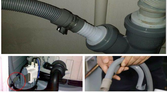 соединение сливного шланга с насосом и канализацией